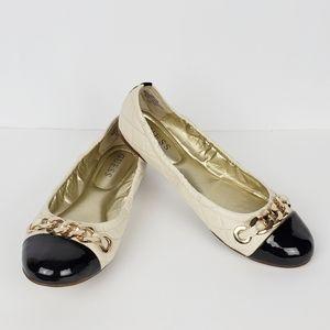 Guess Fetoni Beige/Black Quilted Ballet Flats 8.5